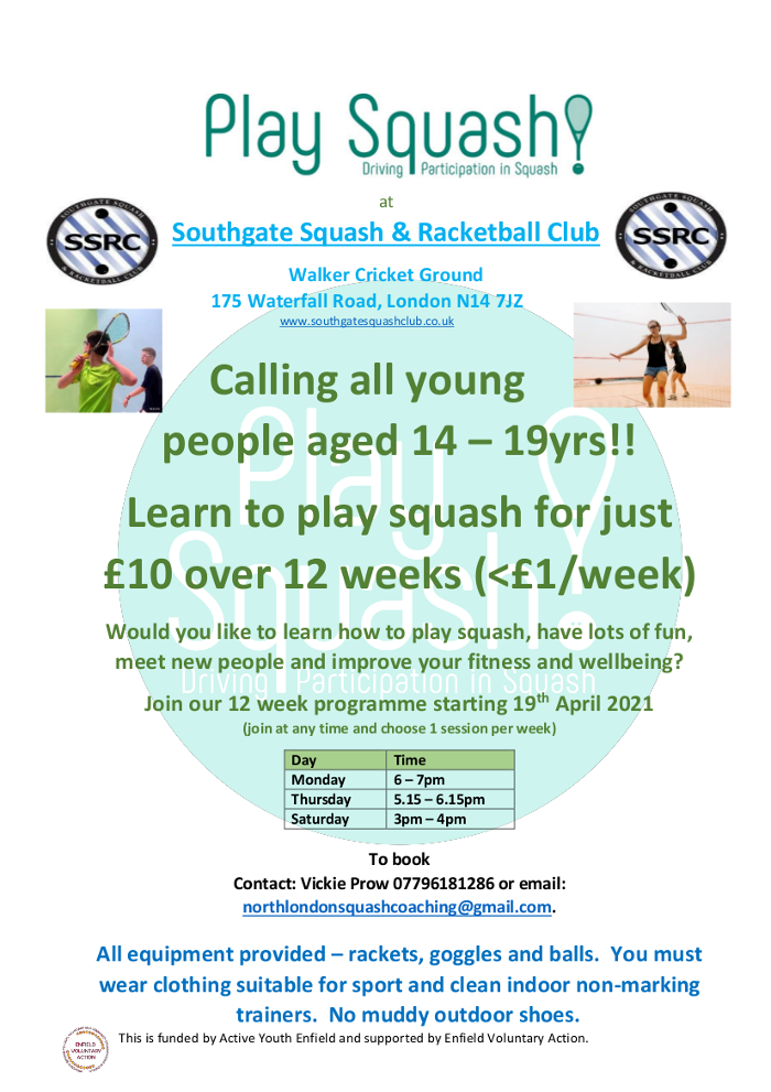 Learn to play squash 14-19yr olds