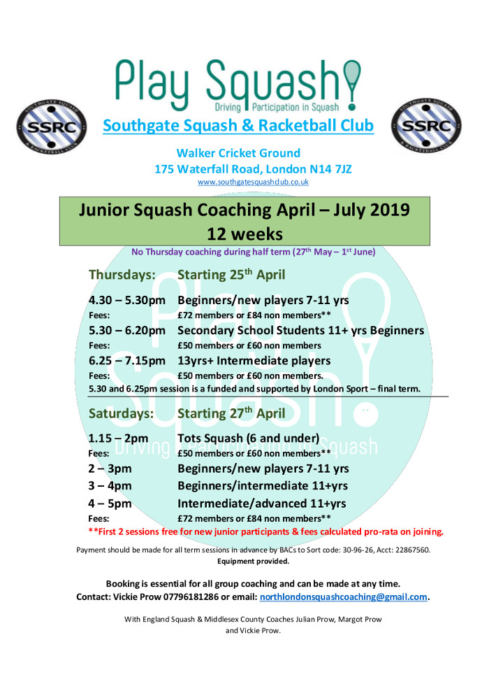 Junior Coaching April-July 2019
