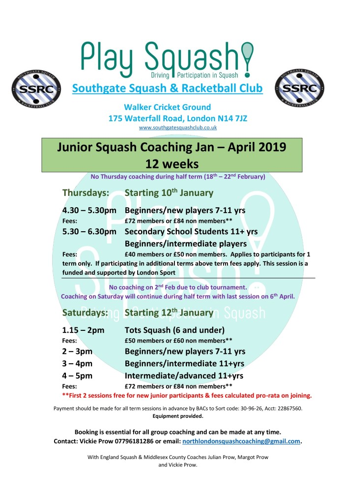 Junior Squash Coaching Jan-Apr 2019