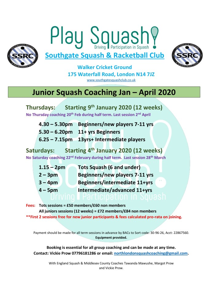 Junior Squash Coaching Jan/Apr 2020
