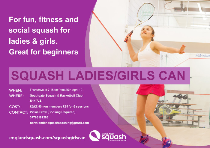Ladies Squash Coaching from 25th April 2019