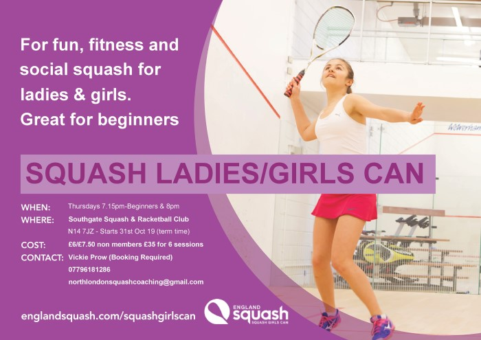 New Ladies session on Thursday at 2000 Oct - Dec 2019