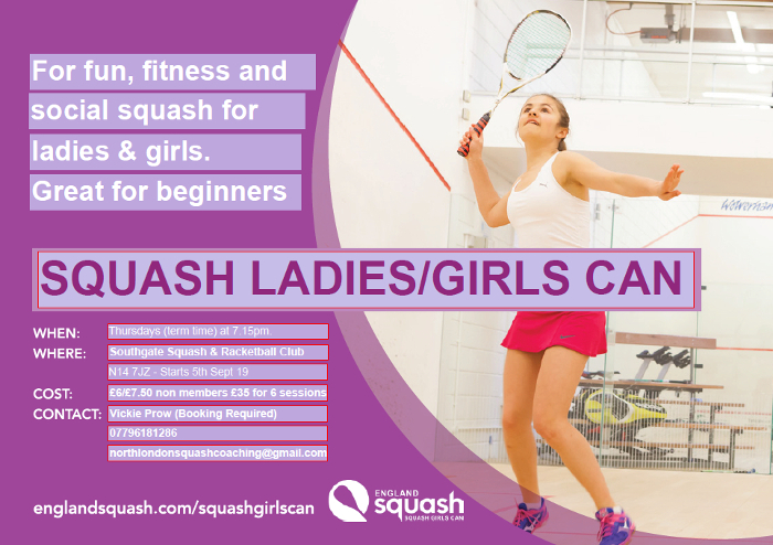 Ladies Squash Coaching from 5th Sept 2019