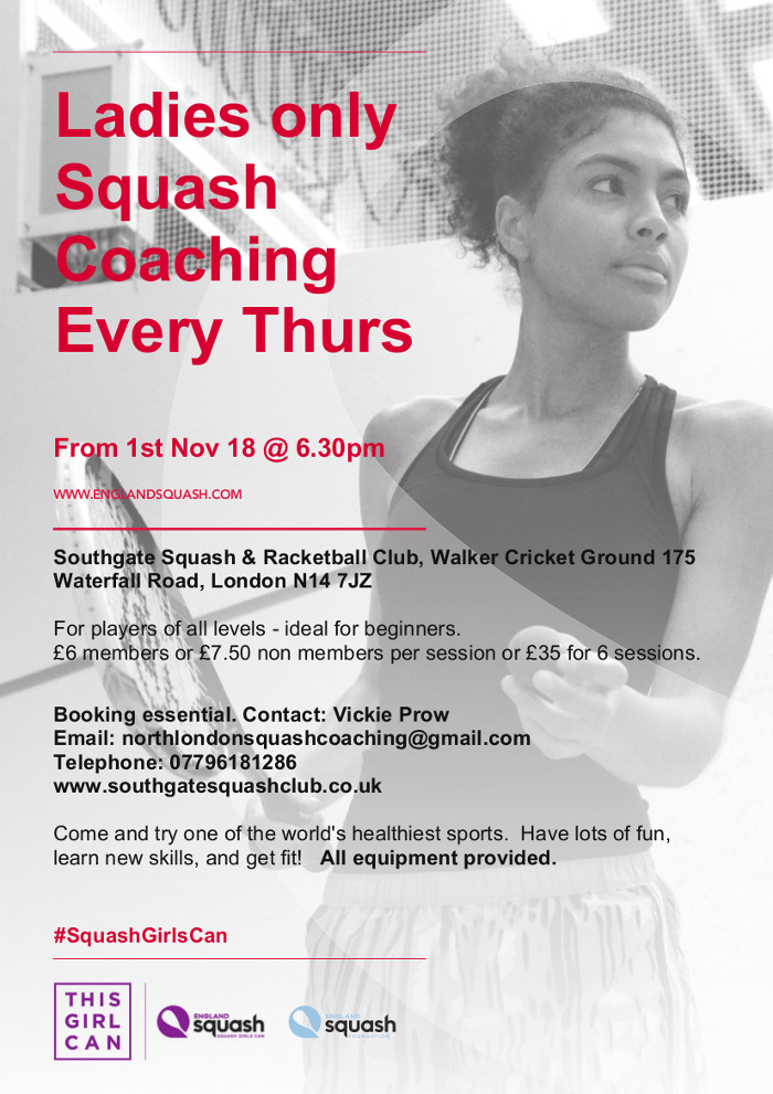 Ladies only Squash Coaching Every Thurs From 1st Nov 18 @ 6.30pm