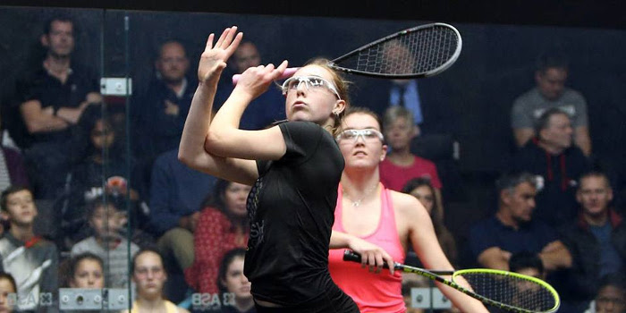 Margot Prow playing at the Dunlop British Junior Championships