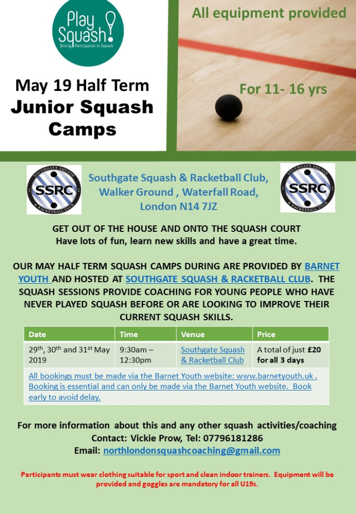 Junior Squash Camp May 2019