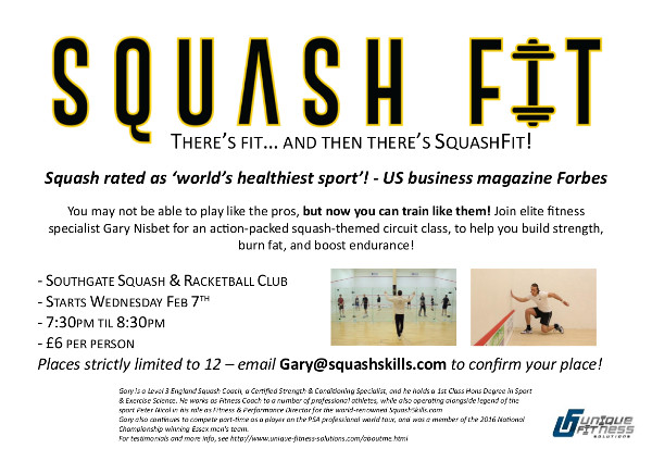 You may not be able to play like the pros, but now you can train like them! Join elite fitness specialist Gary Nisbet for an action-packed squash-themed circuit class, to help you build strength, burn fat, and boost endurance!