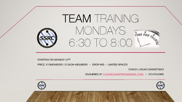 Team Training Mondays 6.30-8pm