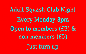Adult Squash Club night every Monday 8pm
