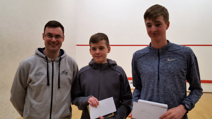James Carmen (centre) Wimbledon Junior Squash 2018